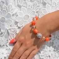 Bratara deosebita cu textura elastica,culoare portocaliu