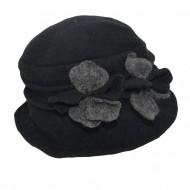 Caciula Ava tip palarie din lana accesorizata cu floare ,nuanta de negru