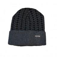 Caciula de barbati de culoare gri deschis cu design negru, de iarna