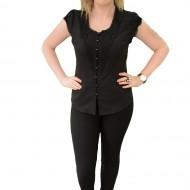Camasa neagra, clasica, cu maneca scurta si design rafinat