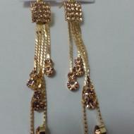 Cercei lungi, deosebiti dini pietre stralucitoare,model de franjuri,mov,auriu