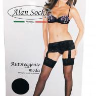 Ciorap fashion, negru, cu model deosebit si banda adeziva