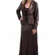 Costum elegant din trei piese, maro din satin