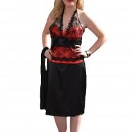 Costum elegant, doua piese, cu corset rosu din saten cu dantela