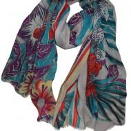 Esarfa deosebita din tesatura fina cu design floral multicolor