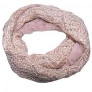 Fular Eve circular din tricot cu insertii de paiete si blanita ,nuanta de pudra