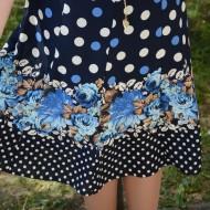 Fusta de primavara-vara, albastra cu design de buline si flori