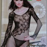 Lenjerie fashion cu aspect dantelat, din material elastic negru