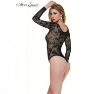 Lenjerie sexi de dama, neagra, model tip body cu aspect dantelat
