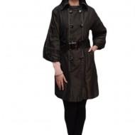 Palton fashion, negru, cu doi randuri de nasturi si curea lata in talie