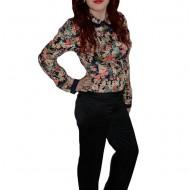 Pantalon clasic, nuanta de negru, cu nasturi chic