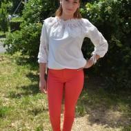 Pantalon comod din material elastic, rosu, cu model de buline