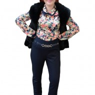 Pantalon lung, de culoare bleumarin, cu model rafinat in fata