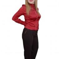 Pantalon lung masura mare, culoare maro, cu design din saten