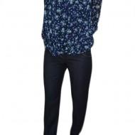 Pantalon masura mare, de culoare bleumarin, cu aspect de blug