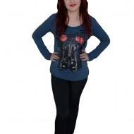 Pantalon sport elastic, negru, design de cusaturi lateral