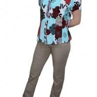 Pantalon subtire din bumbac, cu aspect de blug, culoare bej
