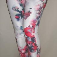 Pantaloni casual, lungi, in nuante alb-bleumarin-rosu