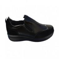 Pantof casual din piele naturala de culoare neagra