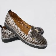 Pantof casual din piele , negru sidef