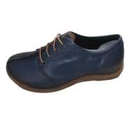 Pantof casual, negru. bleumarin din piele cu siret si talpa bej