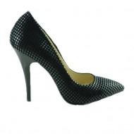 Pantof elegant cu toc inalt, de culoare neagra, cu model marunt