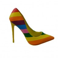 Pantof fashion tip stiletto cu design multicolor, toc inalt de 10,5 cm