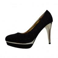 Pantof negru, foarte elegant, din material stralucitor si toc cui