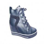 Pantof tineresc cu platforma interioara, nuanta bleumarin-alb
