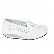 Pantofi casual perforati din talpa ortopedica ,alb