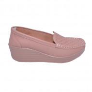 Pantofi cu platforma ,model din piele ,nuanta de roz