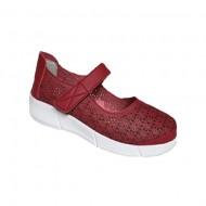 Pantofi cu talpa ortopedica, din piele, in nuanta de rosu