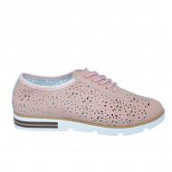 Pantofi dama cu perforatii si siret,nuanta de roz