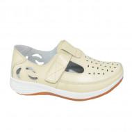 Pantofi din piele cu perforatii si talpa comoda,nuanta de bej