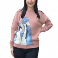 Pulover Fionna tricotata,model cu pinguin,pudra