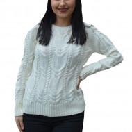 Pulover tricotat Alexa ,model impletit 3D ,alb