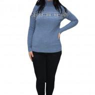 Pulover tricotat Evelin,imprimeu cu motive Christmas,albastru deschis