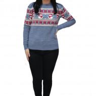 Pulover tricotat Inna ,imprimeu cu snowman,nuanta de albastru