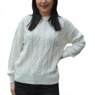 Pulover tricotat Lara cu model rafinat,impletit ,nuanta de alb