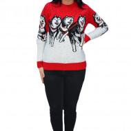 Pulover tricotat Paula ,model cu lupi ,rosu