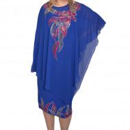Rochie Aly,nuanta de albastru cu voal peste ,model cu strasuri colorate