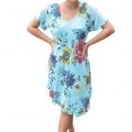 Rochie Amanda, cambrata, model cu flori, nuanta albastru deschis