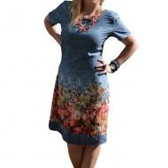 Rochie casual cu imprimeu tineresc multicolor si maneca scurta