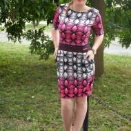Rochie casual, feminina , cu imprimeu grafic roz-gri
