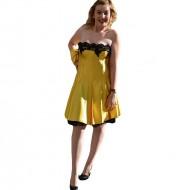 Rochie cu dantela aplicata, nuanta de galben, fara maneci, evazata