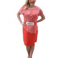 Rochie de culoare corai, tip costum, partea de sus cu dungi