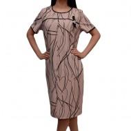 Rochie de fiecare zi cu design abstract de dungi pe fond roz pudra