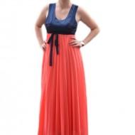 Rochie de ocazie, frumoasa, combinatie de corai cu bleumarin, lunga