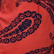 Rochie de primavara-vara cu decolteu rotund, corai, curea in talie
