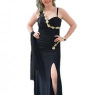 Rochie de seara deosebita, de culoare neagra cu decoratiuni aurii